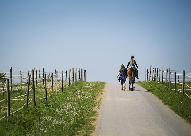 Hippotherapie Spazierritt mit Therapeutinnen und Patientin auf Pferd Herkules