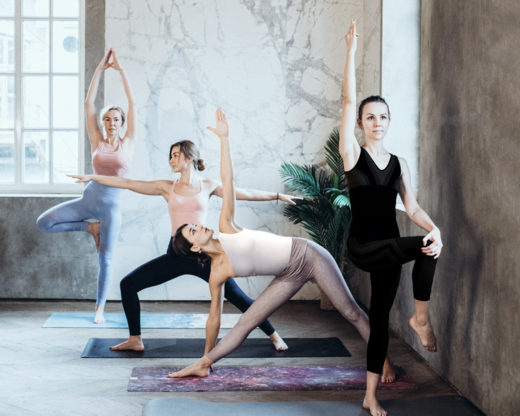 Frauen machen in der Gruppe verschiedene Yoga-Übungen und auch Hatha Yoga